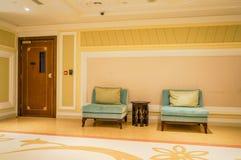 dubai Verano 2016 Interior brillante y moderno el hotel Waldorf Astoria Ras Al Khaimah Fotografía de archivo libre de regalías