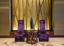 dubai Verano 2016 Interior brillante y moderno el hotel Westin y Le Meridien Mina Seyahi Fotografía de archivo libre de regalías