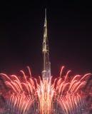 Dubai, Vereinigte Arabische Emirate - 31. Dezember 2016: Feuerwerke verlegen Lizenzfreie Stockbilder