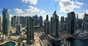Dubai. View of Dubai Marina from the  21st floor of a hotel Royalty Free Stock Image
