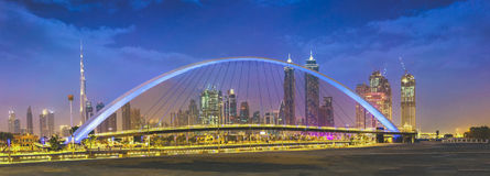 Dubai Water Canal. Is 3 kilometer water network from Business Bay to Persian Gulf through Safa Park & Jumeirah stock photo