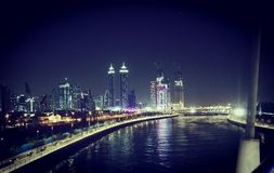 Dubai water canal and skyscrapers. Is the city`s newest attraction royalty free stock photos