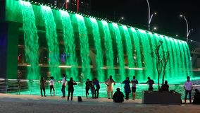 Dubai Water Canal Waterfall stock video footage