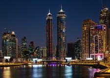 Dubai water channel at night in district area Business Bay. DUBAI, UAE - NOVEMBER 29, 2017: Dubai water channel at night in district area Business Bay stock images