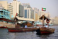 Dubai water taxi. Popular traditional water taxi (boat) on the Creek in Dubai, United Arab Emirates Stock Images