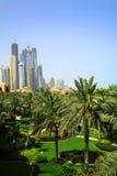 Dubai-Wolkenkratzer und Palmen Stockfotografie