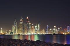 Dubai-Wolkenkratzeransicht Stockfoto