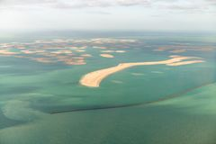 Dubai The World Islands, aerial view from helicopter - United Ar. Ab Emirates royalty free stock image
