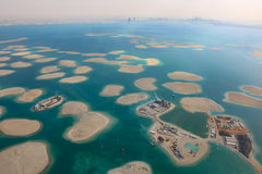 Dubai The World Islands Germany Austria Switzerland Lebanon panorama Island aerial view photography. UAE royalty free stock image