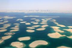 Dubai The World Islands Island panorama Burj Khalifa aerial view Stock Image