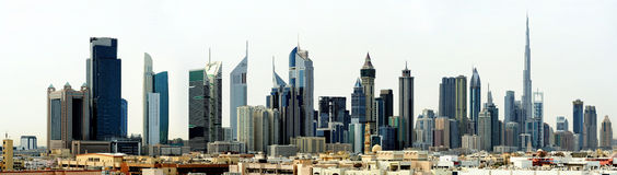 Dubai World Trade center and Burj Khalifa Stock Photo