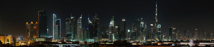 Dubai. World Trade center and Burj Khalifa at night Royalty Free Stock Photography