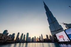 Dubai World Trade center and Burj Khalifa. Royalty Free Stock Images