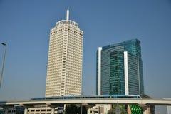 Dubai World Trade Center och hotell Sheikh Rashid Building Fotografering för Bildbyråer