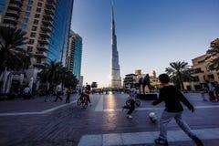 Dubai-World Trade Center und Burj Khalifa Lizenzfreies Stockbild