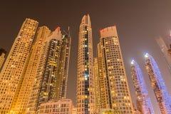 Dubaien - januari 10, 2015: marinaområde på Fotografering för Bildbyråer