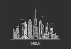 Dubain stadshorisont Arkivfoto