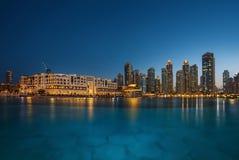 Dubaj śródmieście na pięknym jasnym zmierzchu Zdjęcia Royalty Free