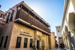 Dubaj Al Bastakiya Al Fahidi Neighbourhood Dziejowy budynek obrazy royalty free