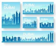 Dubaj broszurki wektorowe karty ustawiać Kraju szablon flyear, magazyny, plakaty, książkowa pokrywa, sztandary Podróży zaproszeni Zdjęcia Stock