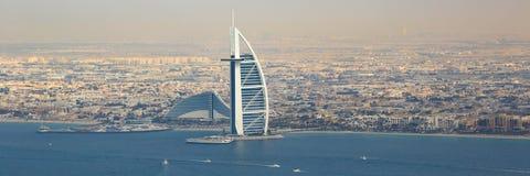 Dubaj Burj Al łodzi Arabskiej Hotelowej panoramy panoramiczny widok z lotu ptaka ph zdjęcie royalty free