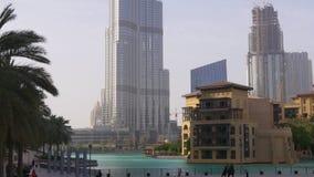 Dubaj centrum handlowego budynku tła zmierzchu światowy wysoki światło 4k uae zbiory