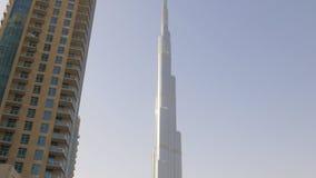 Dubaj centrum handlowego fontanny budynku światowy wysoki widok 4k uae zbiory