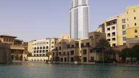 Dubaj centrum handlowego zmierzchu światła hotelu blok 4k uae zbiory