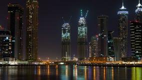 Dubaj drapaczy chmur nighttime upływ Niecka up zdjęcie wideo