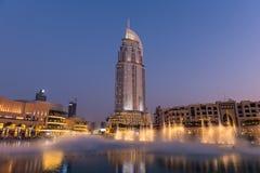 Dubaj fontann przedstawienie przy Dubaj centrum handlowym Obraz Stock