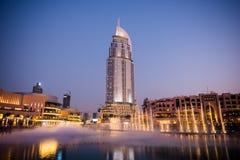 Dubaj fontann przedstawienie przy Dubaj centrum handlowym Fotografia Royalty Free