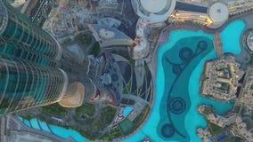Dubaj fontanna jak widzieć od Burj Khalifa, Dubaj Zjednoczone Emiraty Arabskie zapas Odgórny widok Dubai śródmieście i Dubai zbiory
