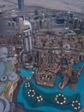 Dubaj fontanna jak widzie? od Burj Khalifa, Dubaj Zjednoczone Emiraty Arabskie obraz stock