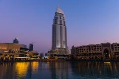 Dubaj fontanny pokazują miejsce przy Dubaj centrum handlowym Obraz Stock