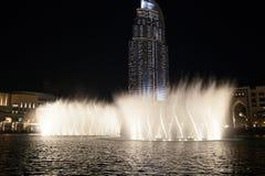 Dubaj fontanny przedstawienie Zdjęcia Royalty Free