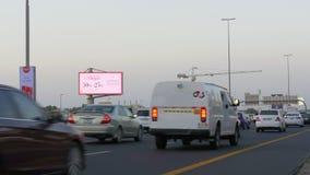 Dubaj głównej drogi zmierzchu czasu ruch drogowy 4k uae zdjęcie wideo