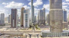 Dubaj Jumeirah jeziora Górują widok z lotu ptaka, UAE Zdjęcie Royalty Free