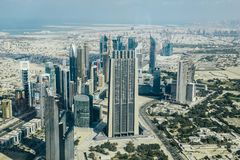 Dubaj linia horyzontu od Burj Khalifa obraz royalty free