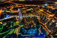 Dubaj linia horyzontu rozjaśnia up, UAE Zdjęcie Stock