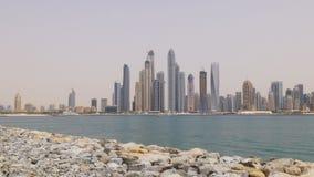 Dubaj marina dnia czasu sławnego budynku widoku palmowa panorama 4k uae zdjęcie wideo