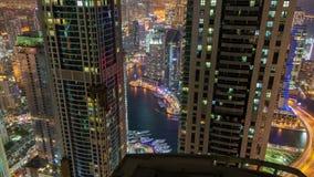 Dubaj Marina nocy linii horyzontu czasu upływ Niecka up zbiory wideo