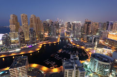 Dubaj Marina przy nocą Fotografia Stock