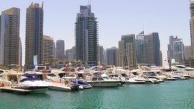 Dubaj marina słońca światła jachtu doku zatoki panorama 4k uae zbiory wideo