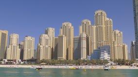 Dubaj marina słonecznego dnia jbr zatoki palmowa panorama 4k uae zbiory wideo