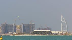 Dubaj miasta dnia światła początku burj palmowego al arabski hotelowy widok 4k uae zdjęcie wideo