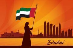 Dubaj miasta linii horyzontu sylwetki tło Ilustracji