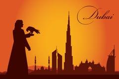 Dubaj miasta linii horyzontu sylwetki tło Ilustracja Wektor