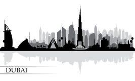 Dubaj miasta linii horyzontu sylwetki tło Zdjęcia Stock