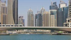 Dubaj miasta marina zatoki mosta panoramiczny widok 4k uae zdjęcie wideo