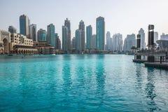 Dubaj miasta, UAE, Dubai centrum handlowe, fontanna Zdjęcia Stock